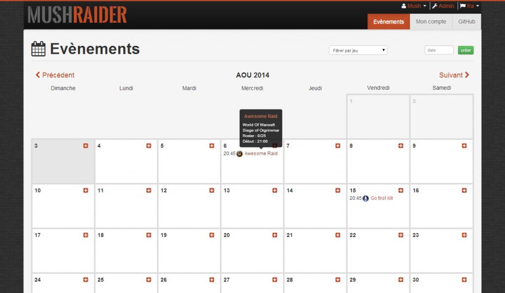 MushRaider Calendar